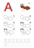 Drawing tutorial. Game for letter A