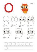 Drawing tutorial. Game for letter O