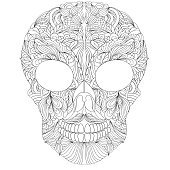 floral skull on white background