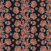 ethnic flowers seamless pattern. floral vector illustration