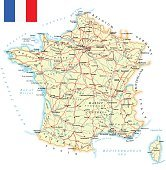 France - detailed map - illustration