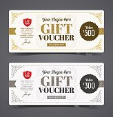 Gift voucher template with glitter gold and silver, Vector illustration.
