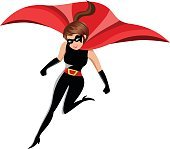 Woman Superhero in Action Isolated
