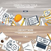 Vector illustration. Engineering and architecture. Notebook, software. Drawing, construction.  Architectural