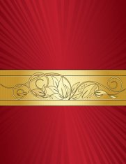 Floral Swirl Background Design - Red and Gold