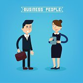 Business People. Businessman and Businesswoman. Woman with Tablet