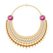 Many chains golden metallic necklace with diamonds and rubies