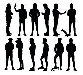 Full body standing hipster silhouettes in different situations.