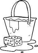 black and white cartoon bucket of soapy water