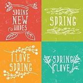 Hand Drawn spring labels with flowers,branches and leaves