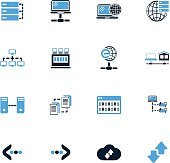Internet, server, network icons set