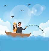 couple man woman fishing on boat romance romantic moment outdoor