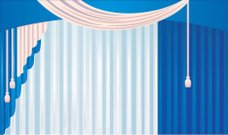 Blue curtain with tassel
