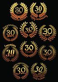 Anniversary golden laurel wreaths set