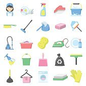 Cleaning 25 cartoon icons set for web