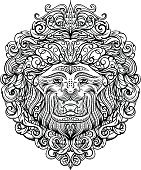 Lion Head with abstract ornament. Vintage tattoo art design,