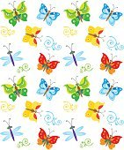 Cartoon Style Butterfly And Dragonfly Pattern. Colorful Butterflies In Vector.