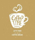 'coffee time' Hipster Vintage Stylized Lettering.Vector craft paper illustration.