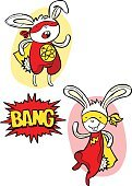 Superhero. Bunny. Dialog Box - Bang! Vector isolated object.