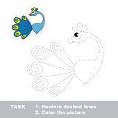 Peacock to be traced. Vector trace game