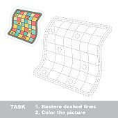 Quilt to be traced. Vector trace game
