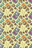 Coffee machine. Coffee pot and coffee cup. Vector seamless pattern.