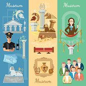 Museum banner antiquity and natural science exposition
