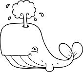 black and white cartoon whale spouting water