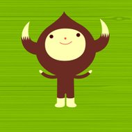 horned character on green wood background