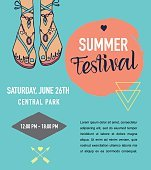 Bohemian summer, event poster, boho style