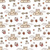 Beach toys seamless pattern. Hand drawn sand castle, pail, scoop.