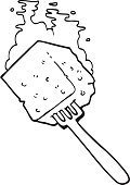 black and white cartoon cheese on fork