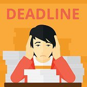 Man having problem with deadline