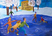 """Children's drawing """"Ice skating in the winter park '"""