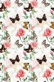 Seamless pattern from roses and butterflies