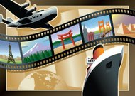 Vintage Style Film Strip Travel Postcard