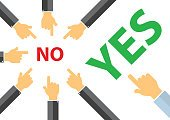 yes or no , peer pressure concept - think different concept