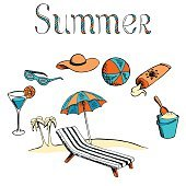 Summer vacation graphic art color isolated illustration vector