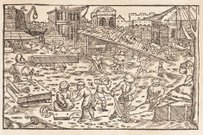 Construction site woodcut from 1586