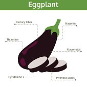 eggplant nutrient of facts and health benefits, info graphic vegetable