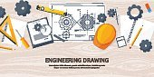 Vector illustration. Engineering and architecture. Drawing, construction.  Architectural project. Design