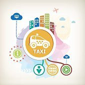 Taxi car sign icon on abstract colorful watercolor background