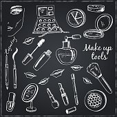 Collection of  Vector hand drawn Tools for make-up