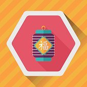 Chinese New Year flat icon with long shadow,eps