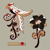 Set of floral elements and a fantasy bird for design.