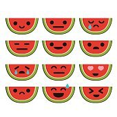 Watermelon Cartoon Character with Different Expressions. Isolated Vector.