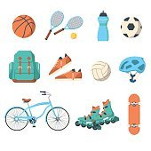 Summer outdoor activities sport equipment
