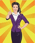Pop art retro style woman showing thumb up hand sign