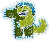 Vector cute Halloween character ogre, fictitious angry creature.
