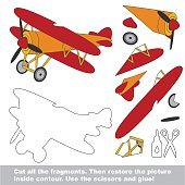 Paper kid game. Easy application for kids with Biplane